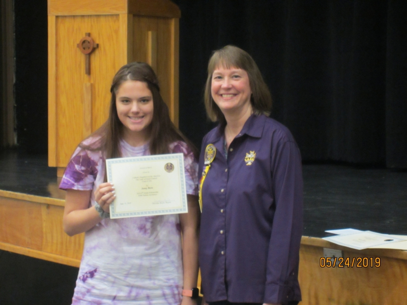 500.00 8th grade scholarship jenny berte daughter of amber pyle regent christina rosch