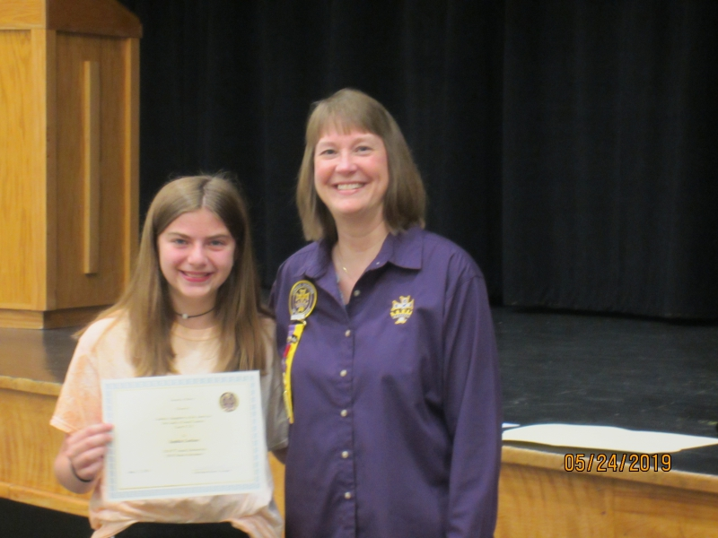 500.00 8th grade scholarship sophia carlson daughter of eugene and melissa carlson regent christia rosch